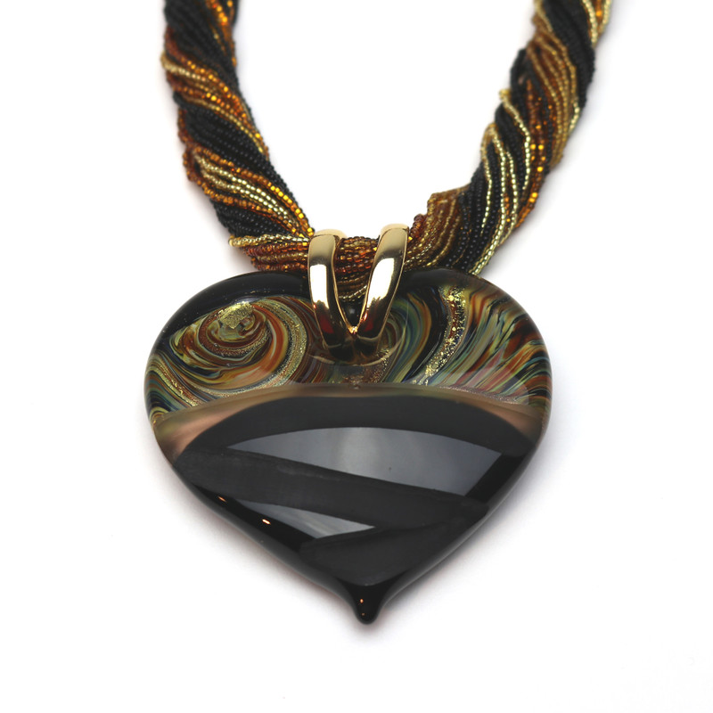 Murano Glass Diamante Heart Pendant Black