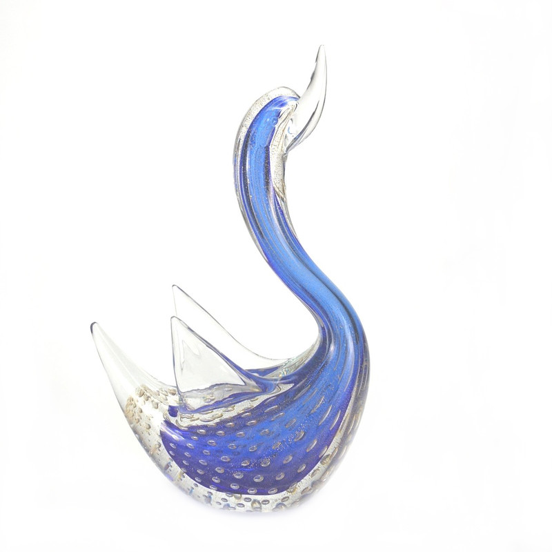 Murano Glass Swan with Wings Head Up Blue Gold