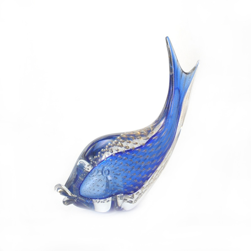 Murano Glass Fish Lg. Blue Gold