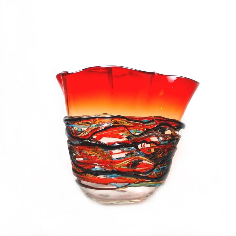 Murano Glass Colorado Handkerchief Vase Red