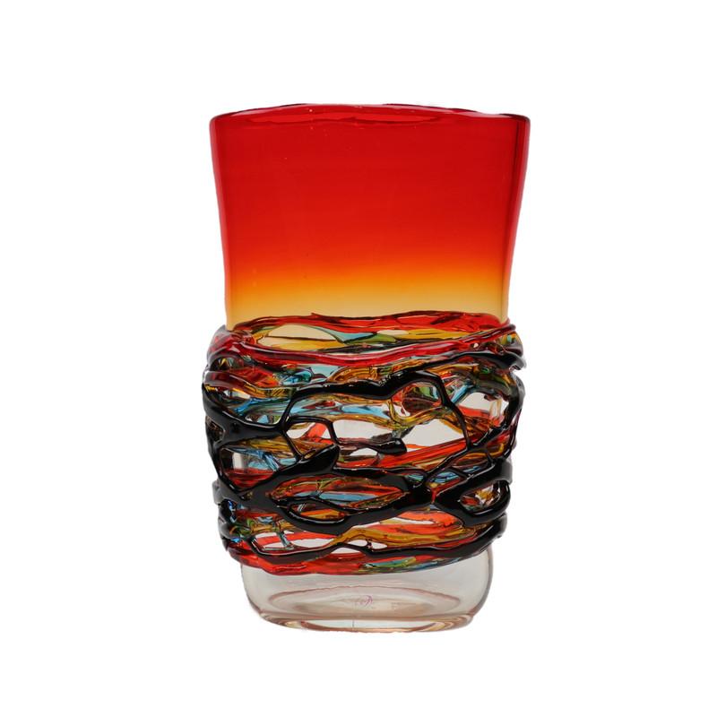 Murano Glass Colorado Oval Vase Red