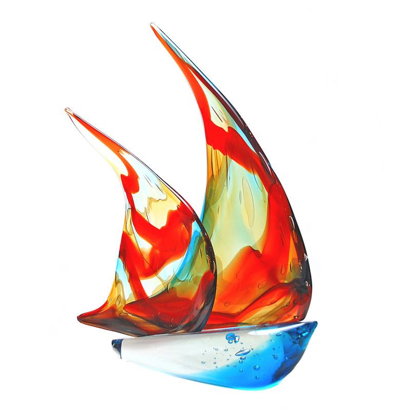 Murano Glass Sailboat Double Sails Multicolor