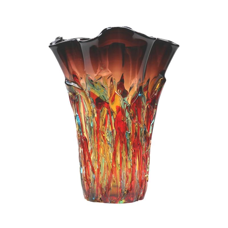 """Murano Glass Allergria Tall Handkerchief Vase Amethyst 13.5"""" Ht."""