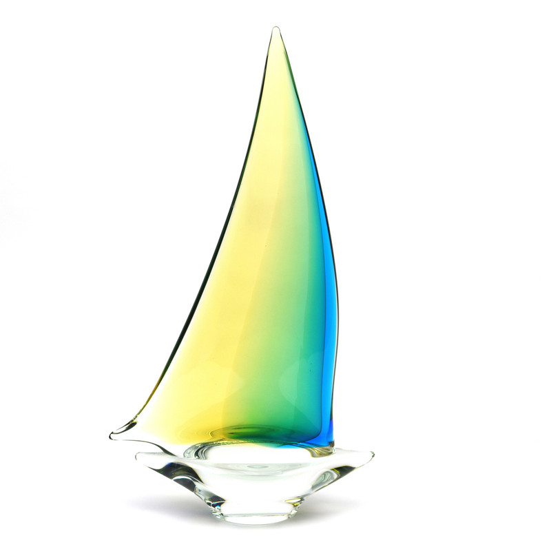 Murano Glass Sailboat Aqua Amber