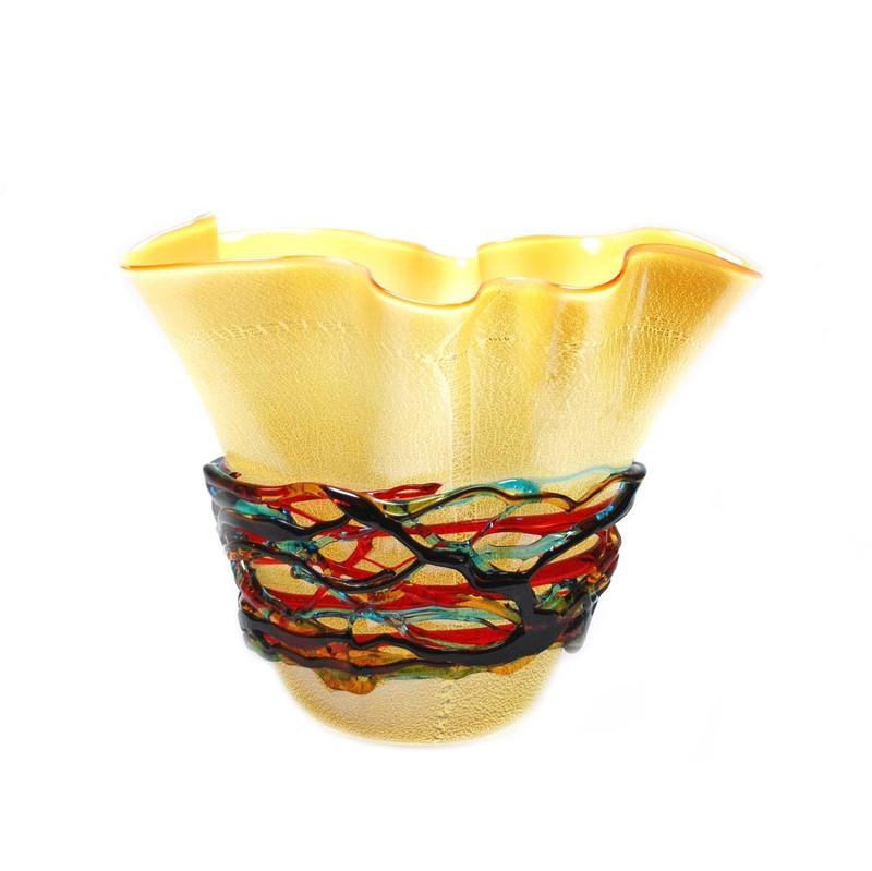 Murano Glass Colorado Silver Handkerchief Vase