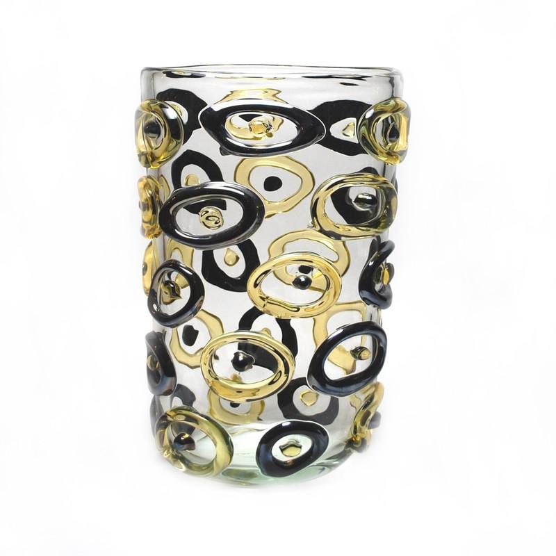 Murano Glass Macchia Cerchi Tall Oval Vase