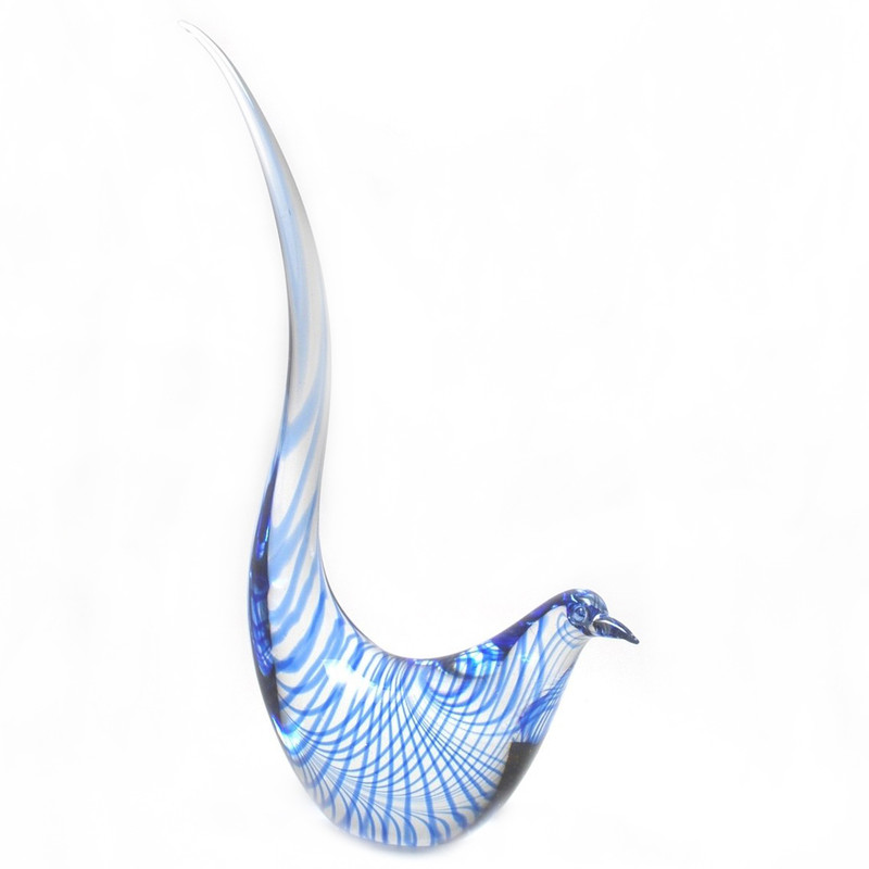 Murano Glass Bird Clear Blue Spiral