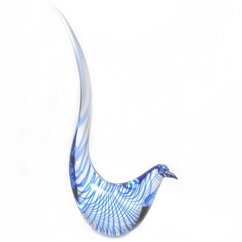 Murano Glass Bird Clear Blue Spiral
