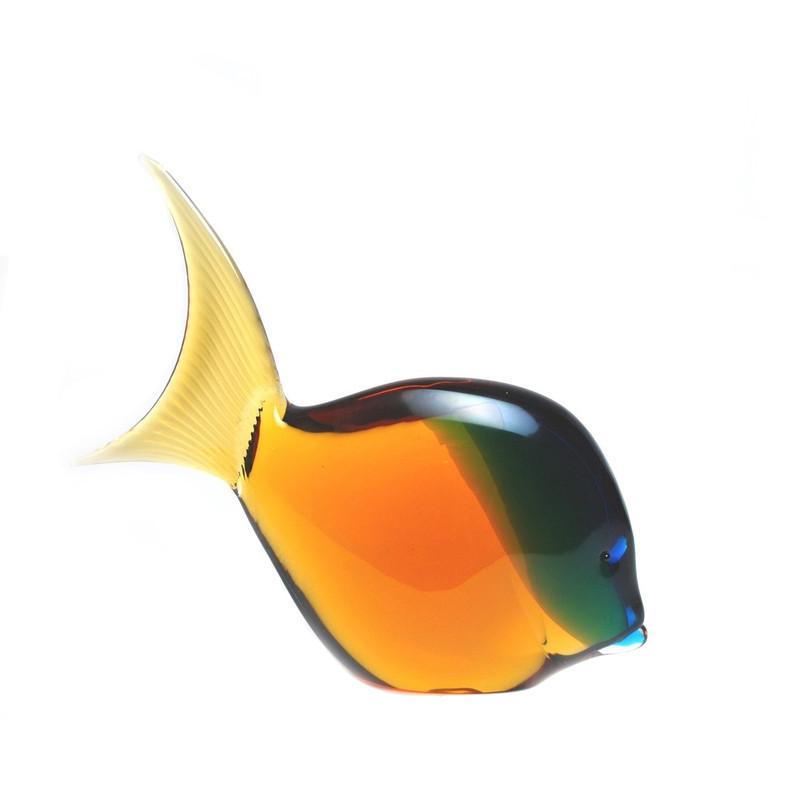 Murano Glass Tropical Fish Aqua Amber