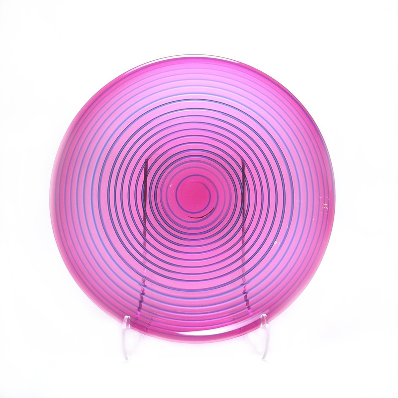 Murano Glass Plate Ruby with Aqua Spiral