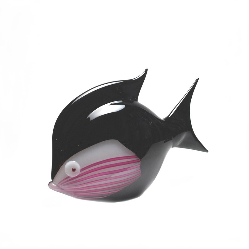 Murano Glass Tropical Fish Black Opal