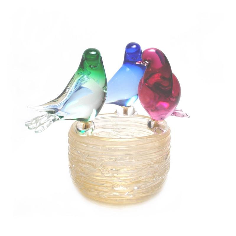 Murano Glass Nest w/3 Birds