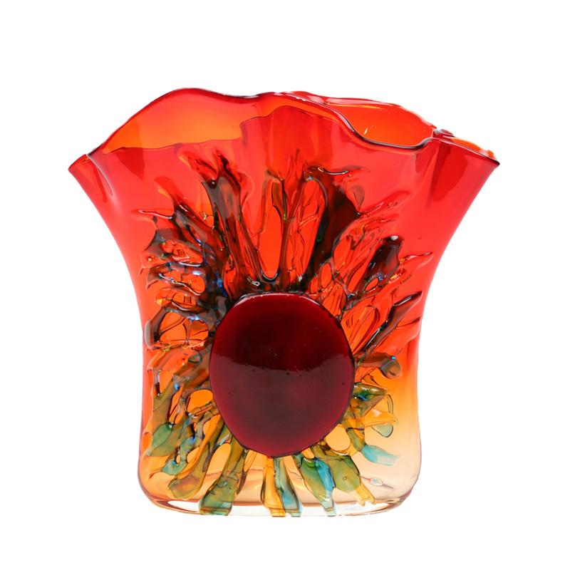 Murano Glass Sole Handkerchief Vase Red