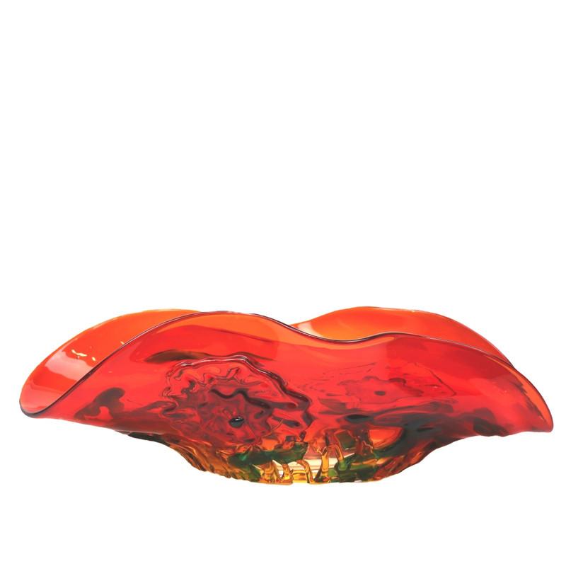 Murano Glass Fiore Centerpiece Bowl Red