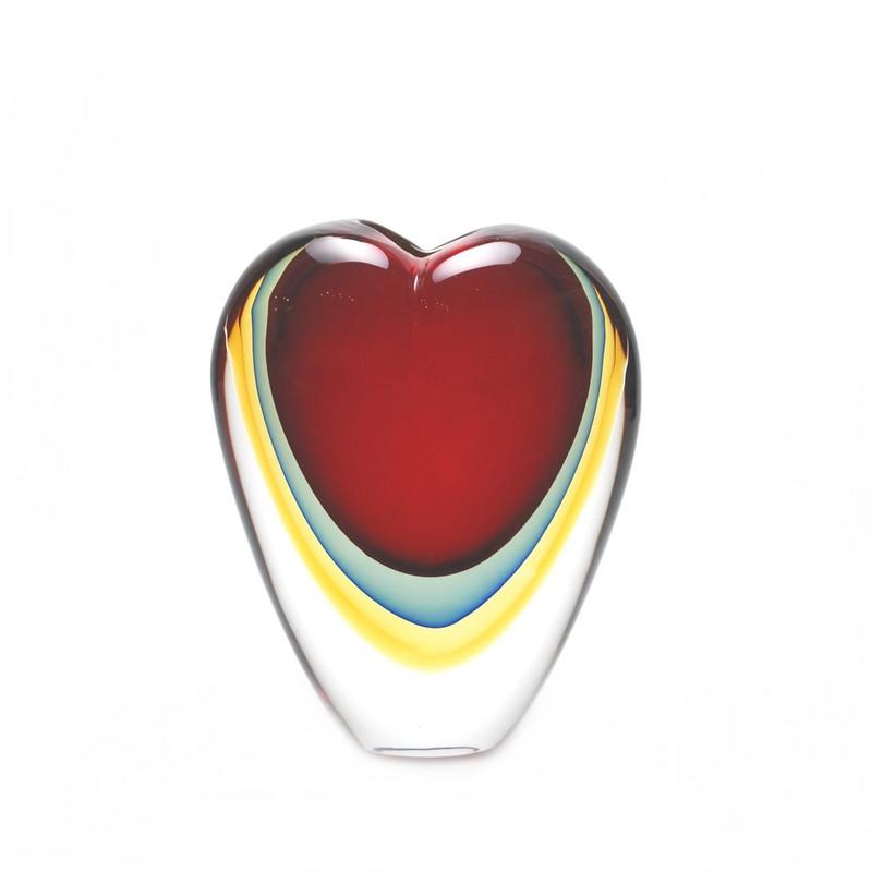 Murano Glass Heart Vase Red Blue Amber