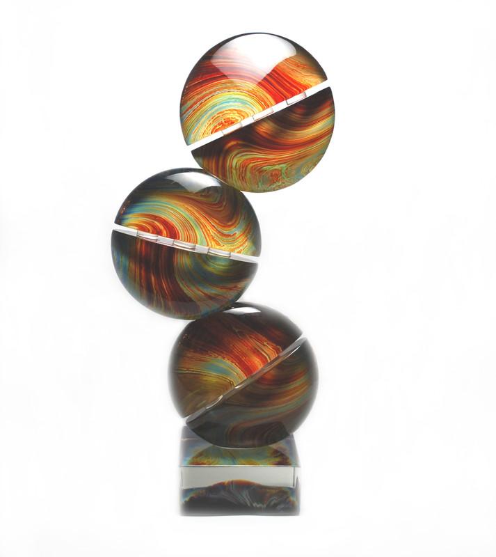 Murano Glass Calcedonia Triple Disc Sculpture