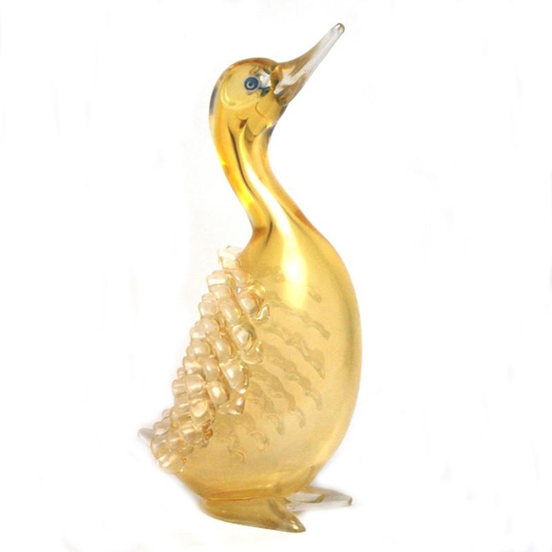 Murano Glass Duck Head Up Yellow