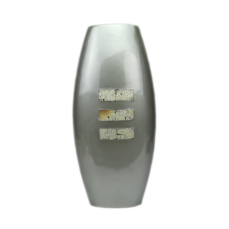 Bello Ceramic Vase Blue Grey Pearl w/Rect. Eggshell Inset