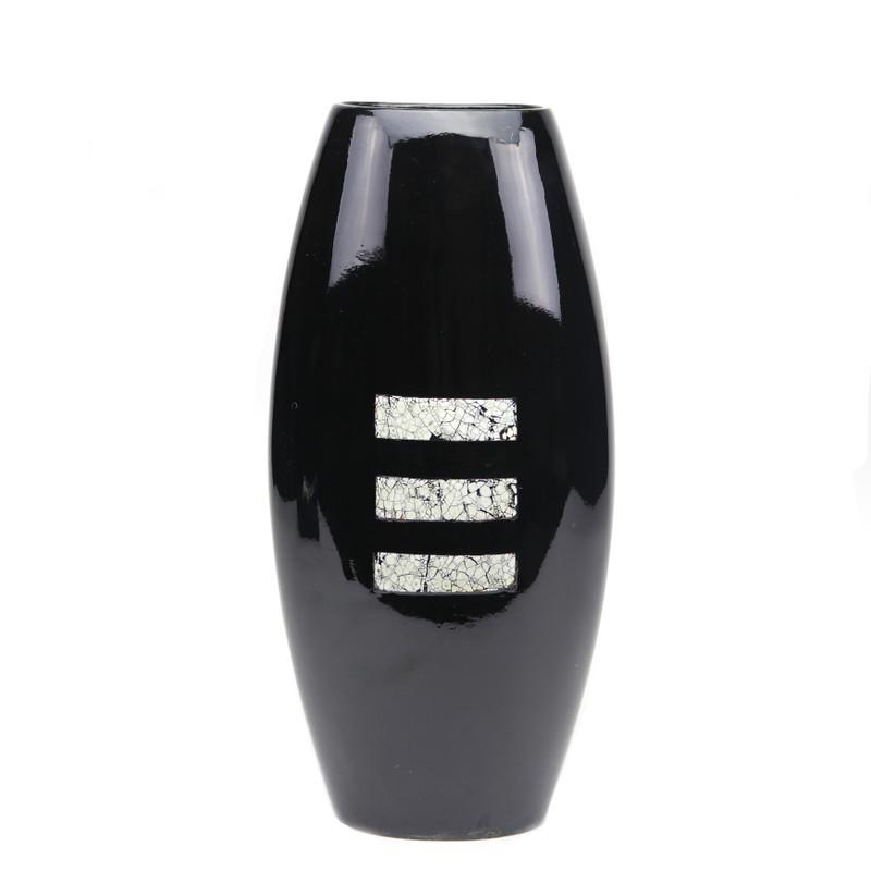Bello Ceramic Vase Black w/Rect. Eggshell Inset