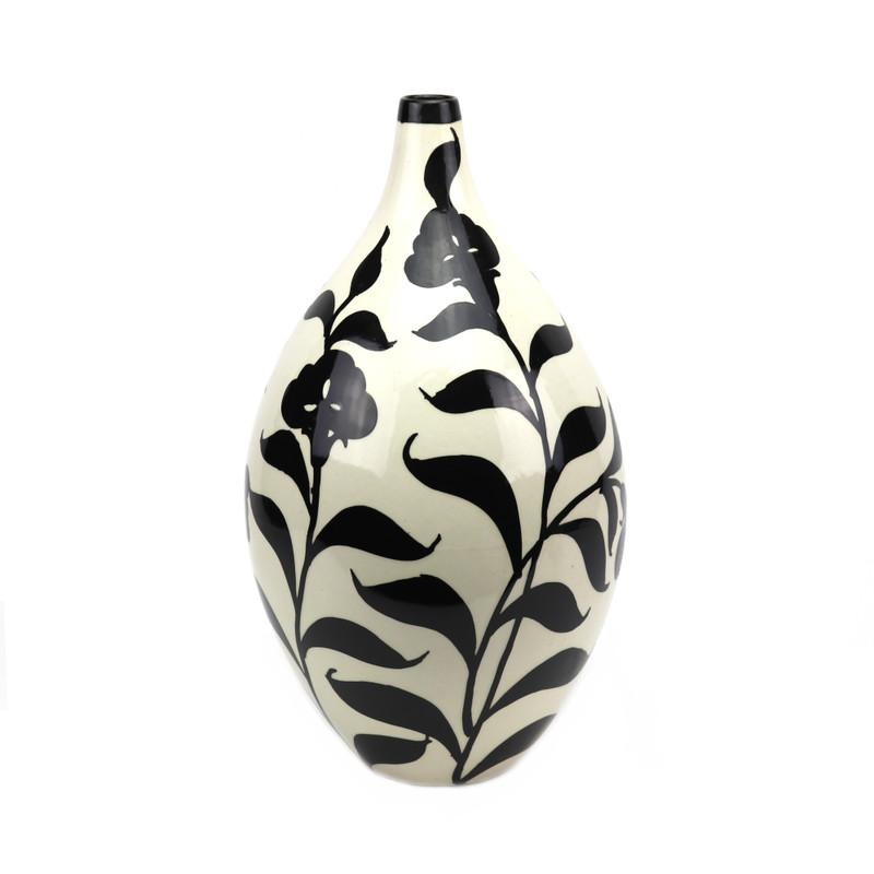 Ceramic Vase Black Lily Pattern on White