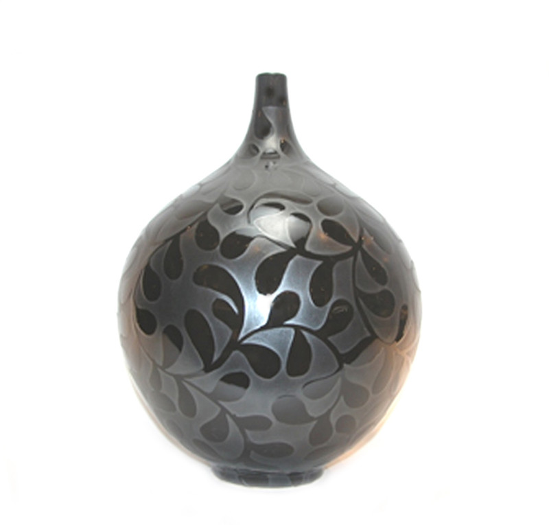 Ceramic Vase Black Leaf Pattern on Black