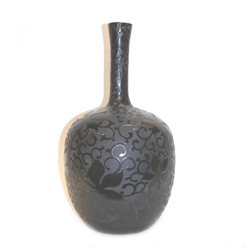 Ceramic Vase Black Flower Pattern on Black