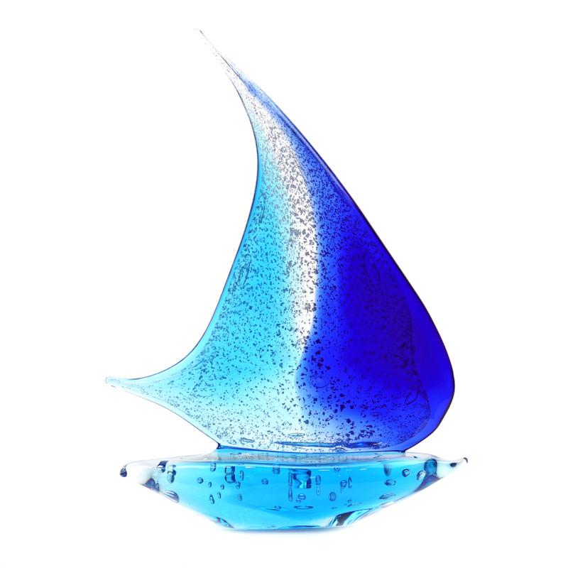 Murano Glass Sailboat Aqua Blue Silver