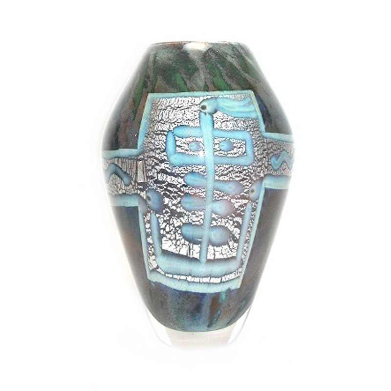 Paillon Vase Blue/Grey w/Gold/Silver