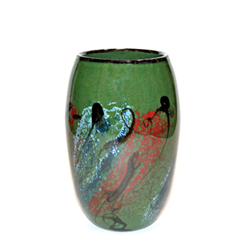 Tall Oval Vase Green