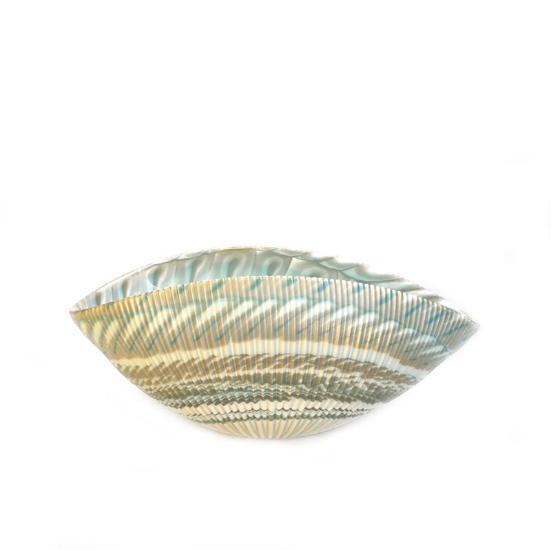 Murano Glass Shell Bowl Ivory Turquoise Medium