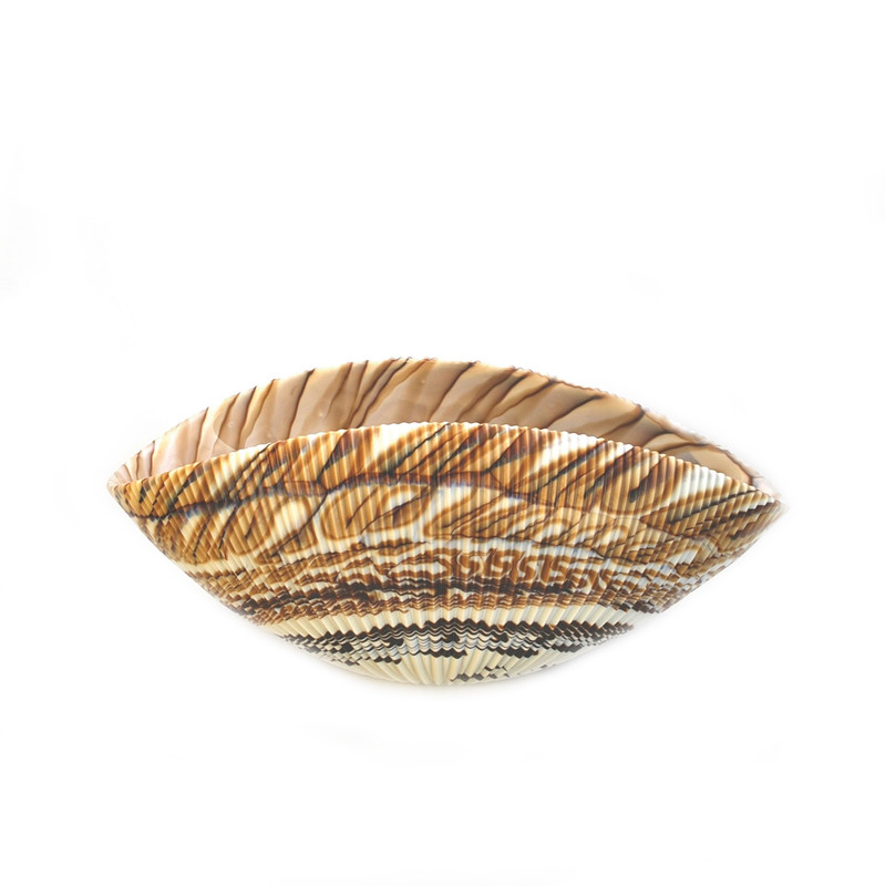 Murano Glass Shell Bowl Ivory Brown
