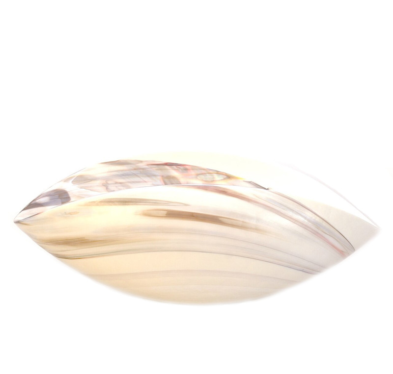 """Murano Glass Fossile Bowl Ivory Mother of Pearl Medium 16"""" Length"""