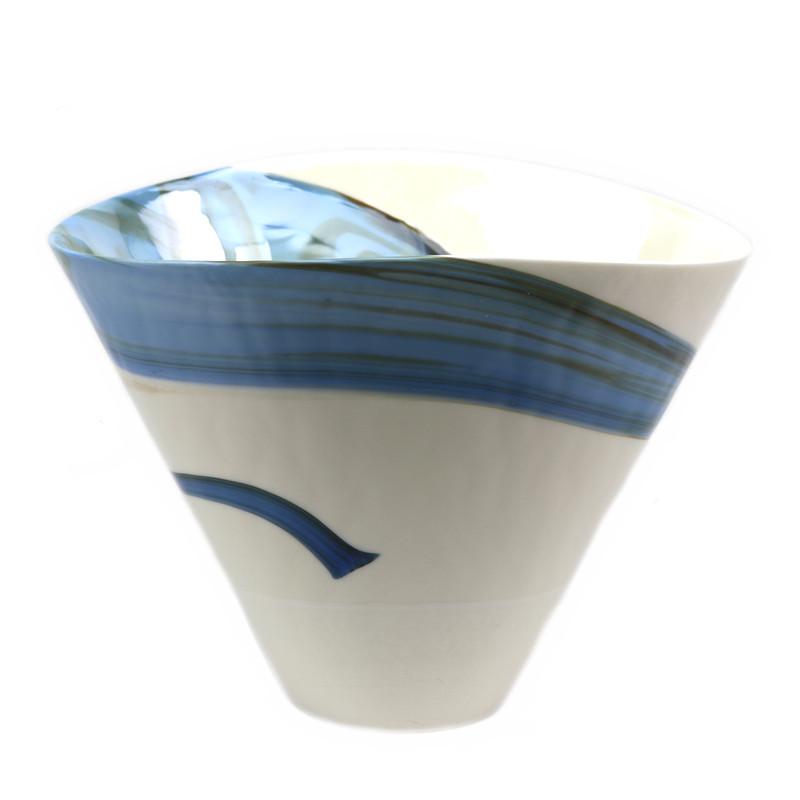 "Murano Glass Pavone Vase Ivory Blue 9"" Ht."