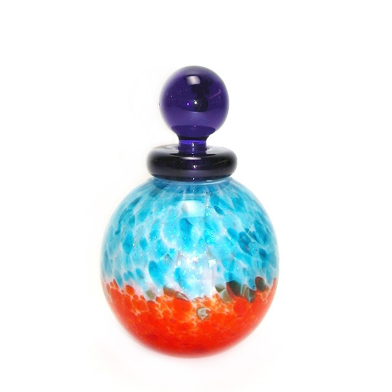 Murano Glass Palla Bottle Aqua Orange