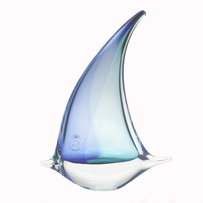 Murano Glass Angel Fish Aqua Blue