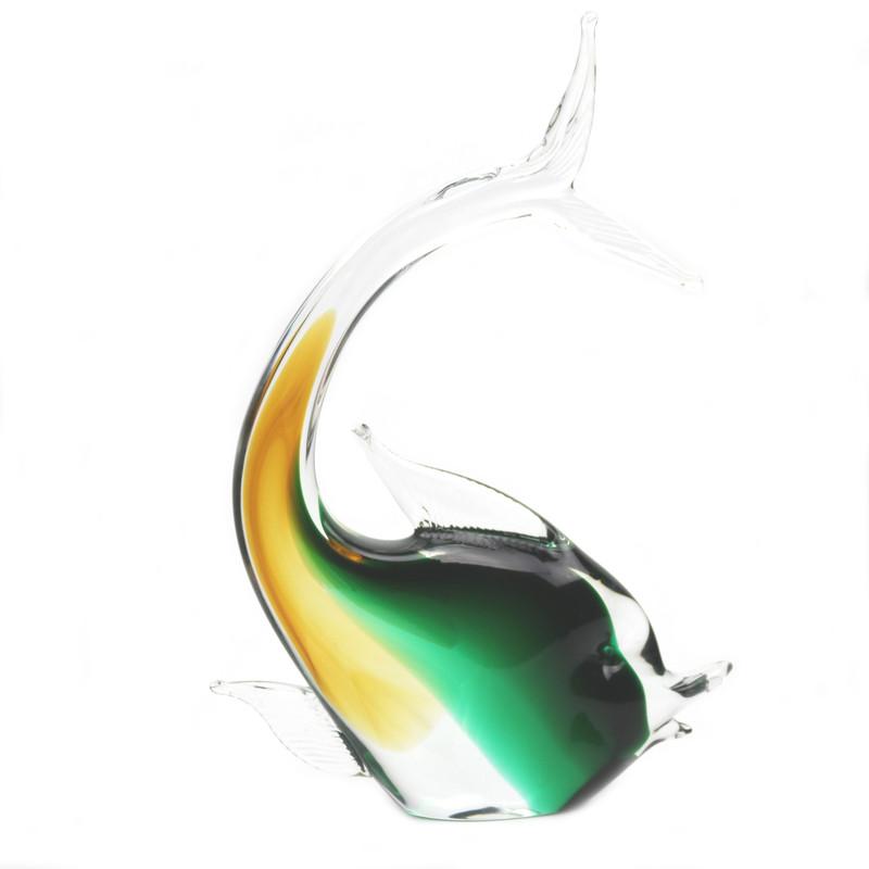 Murano Glass Fish Amber Green