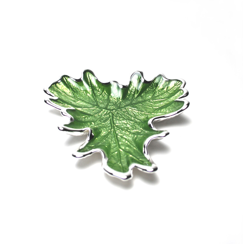 Foglia Grape Leaf Plate Green Silver