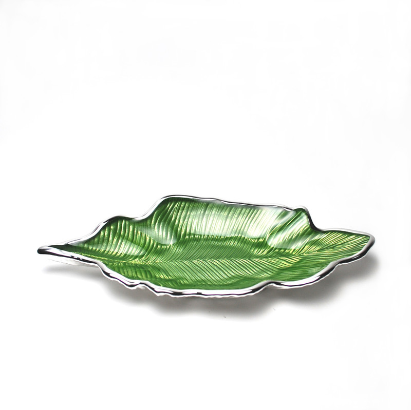 Foglia Willow Leaf Plate Green Silver