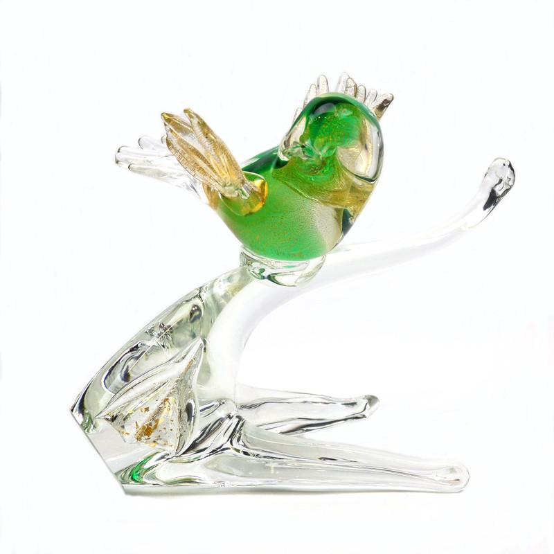 Murano Glass Bird on Branch Green Gold