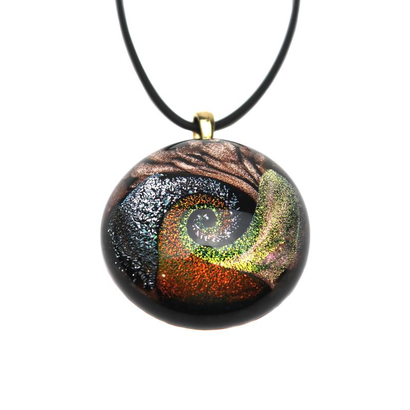 Murano Glass Round Pendant Black Red Copper