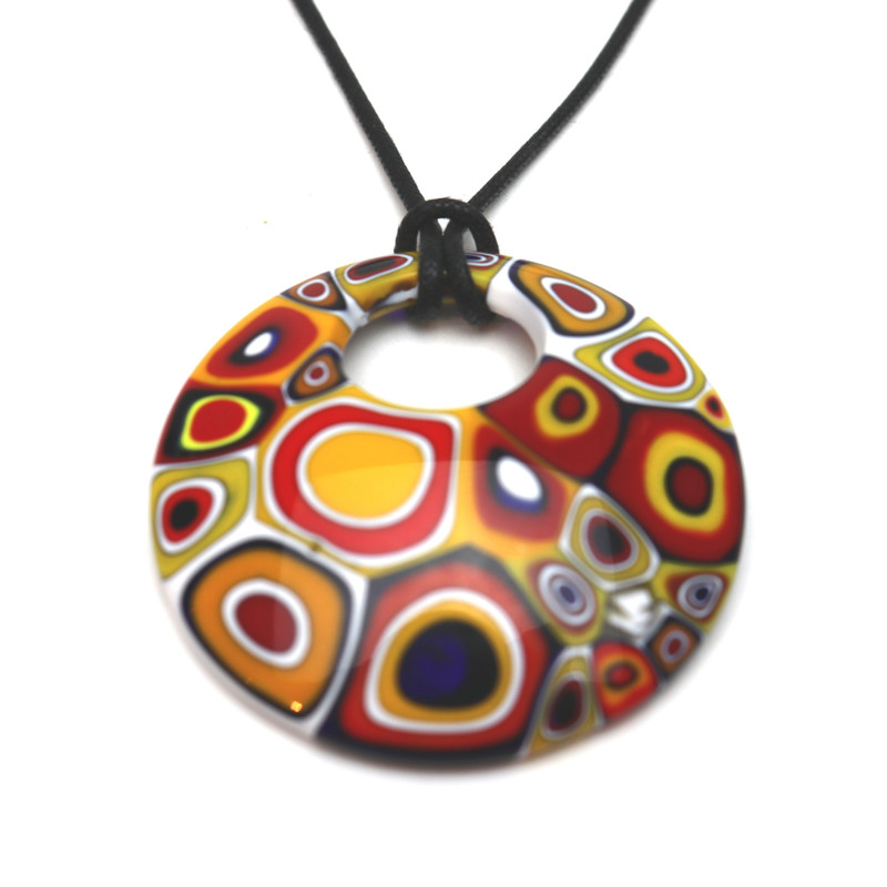 Murano Glass Millefiori Murrine Round Pendant Necklace White Multicolored
