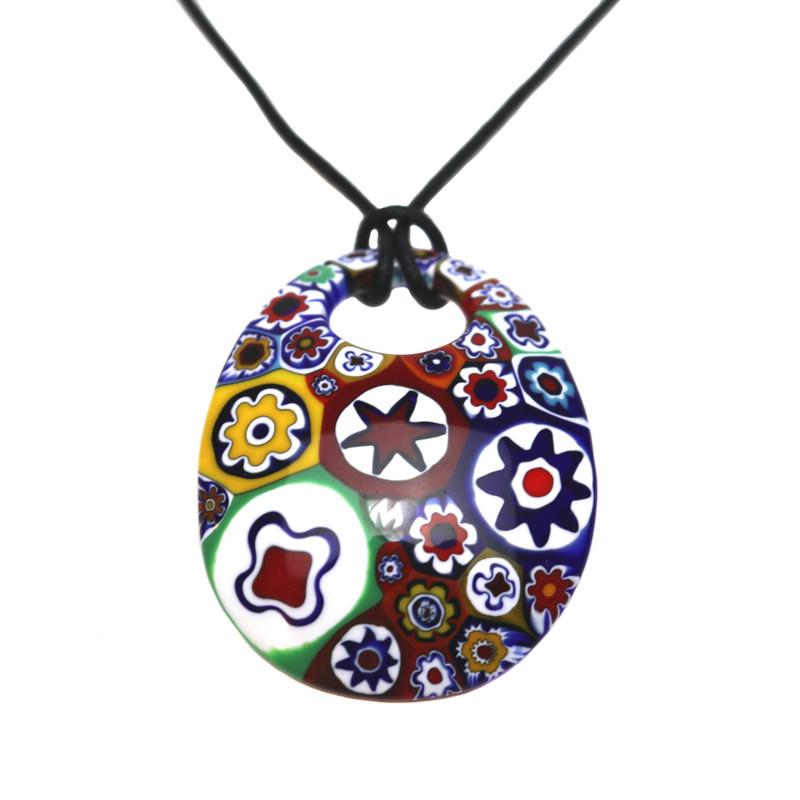 Murano Glass Millefiori Murrine Oval Pendant Necklace Multicolored