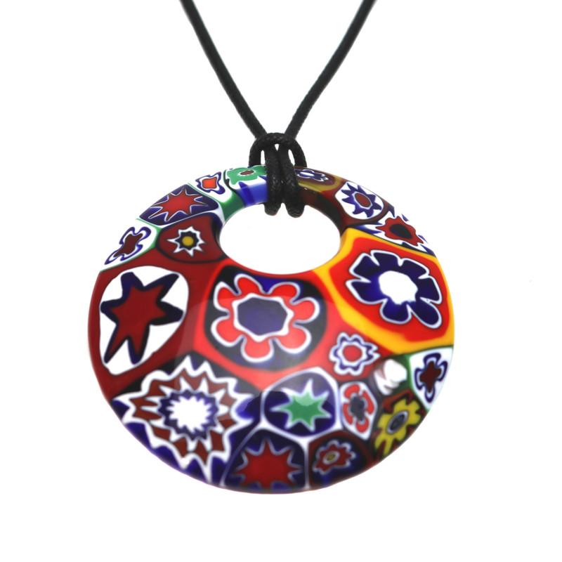 Murano Glass Millefiori Murrine Round Pendant Multicolored