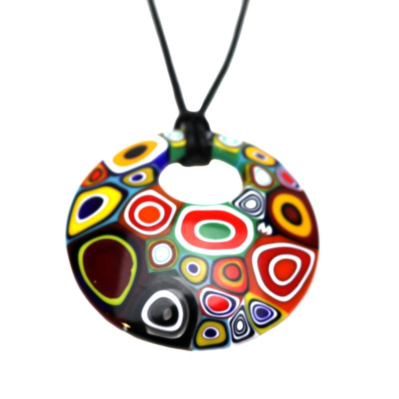 Murano Glass Millefiori Murrine Round Pendant Necklace Multicolored