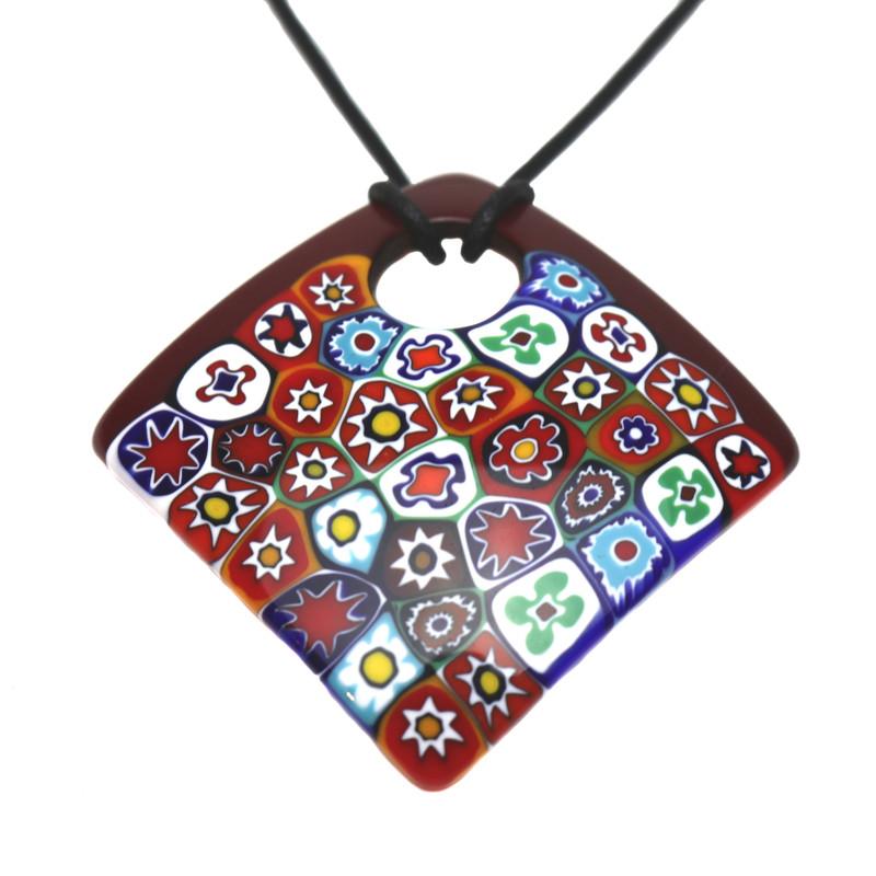 Murano Glass Millefiori Murrine Square Pendant Necklace Red Multicolored