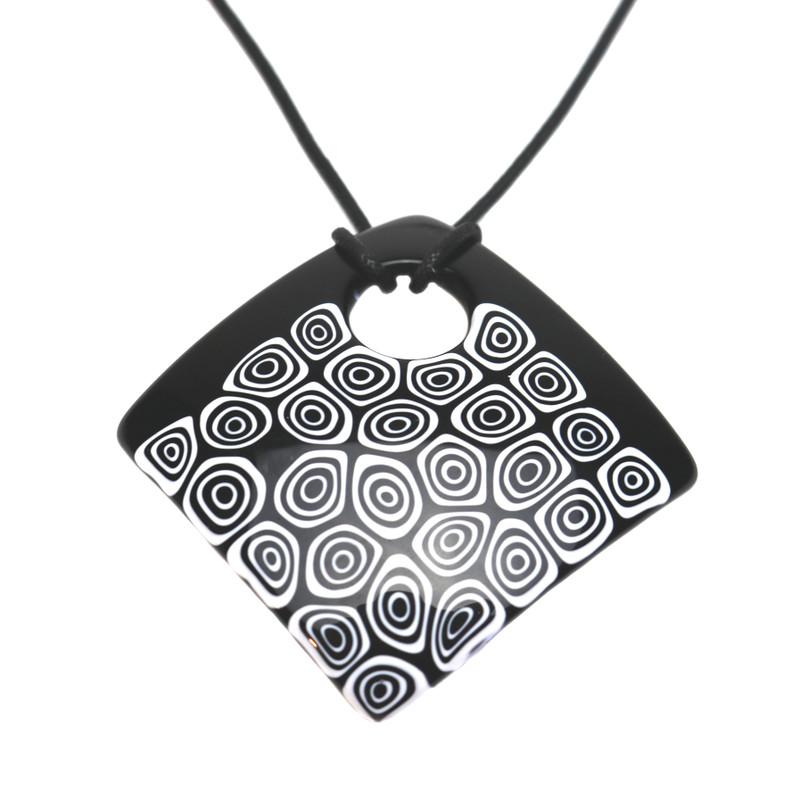 Murano Glass Millefiori Murrine Square Pendant Necklace Black White