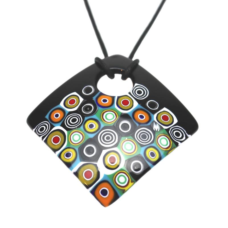 Murano Glass Millefiori Murrine Square Pendant Necklace Black Multicolored