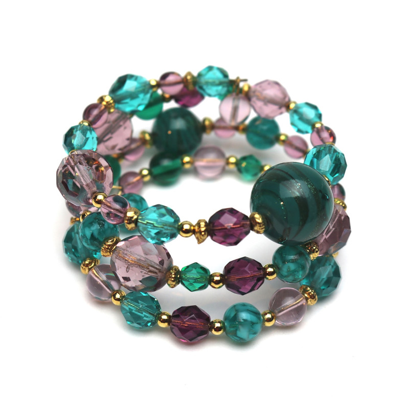 Murano Glass Passione Wrap Bracelet Jade Green Amethyst