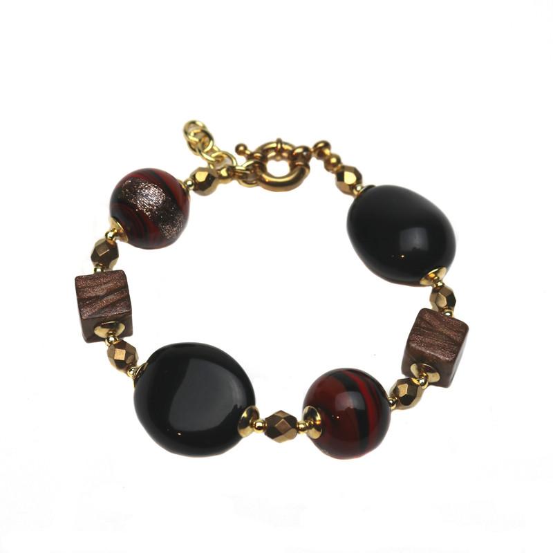Murano Glass Diva Bracelet Red Black