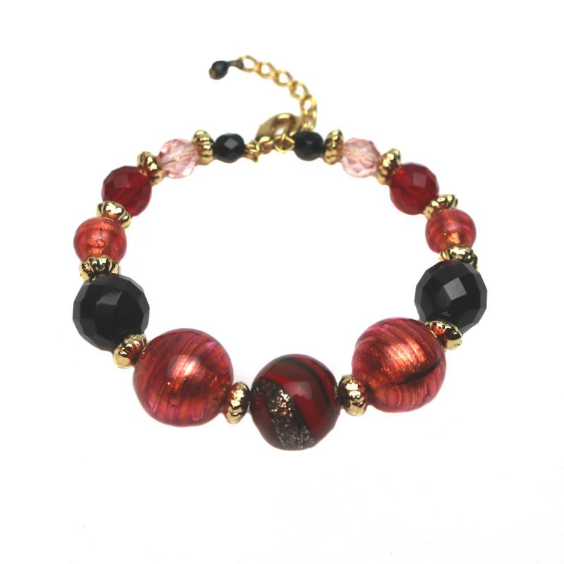 Murano Glass Laguna Bracelet Red Black
